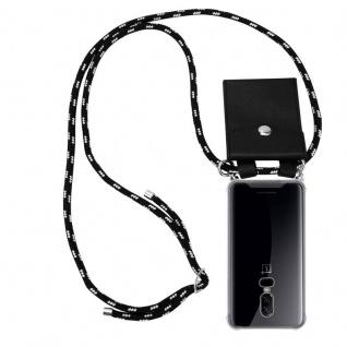 Cadorabo Handy Kette für OnePlus 6 in SCHWARZ SILBER Silikon Necklace Umhänge Hülle mit Silber Ringen, Kordel Band Schnur und abnehmbarem Etui Schutzhülle