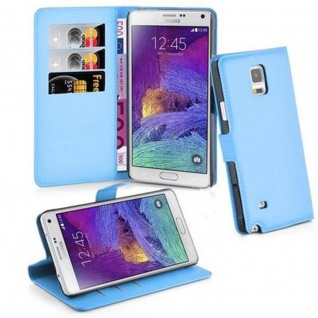 Cadorabo Hülle für Samsung Galaxy NOTE 4 in PASTEL BLAU Handyhülle mit Magnetverschluss, Standfunktion und Kartenfach Case Cover Schutzhülle Etui Tasche Book Klapp Style