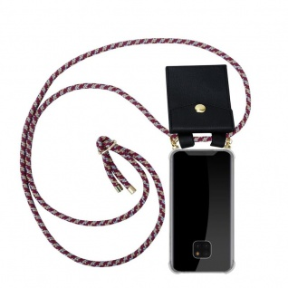 Cadorabo Handy Kette für Huawei MATE 20 PRO in ROT GELB WEISS - Silikon Necklace Umhänge Hülle mit Gold Ringen, Kordel Band Schnur und abnehmbarem Etui ? Schutzhülle
