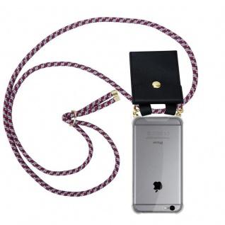 Cadorabo Handy Kette für Apple iPhone 6 PLUS / iPhone 6S PLUS in ROT WEISS Silikon Necklace Umhänge Hülle mit Gold Ringen, Kordel Band Schnur und abnehmbarem Etui Schutzhülle