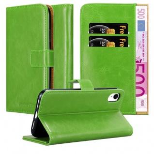 Cadorabo Hülle für Apple iPhone XR in GRAS GRÜN ? Handyhülle mit Magnetverschluss, Standfunktion und Kartenfach ? Case Cover Schutzhülle Etui Tasche Book Klapp Style