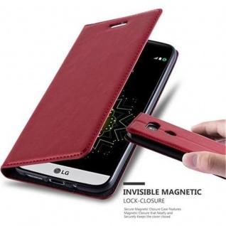 Cadorabo Hülle für LG G5 in APFEL ROT Handyhülle mit Magnetverschluss, Standfunktion und Kartenfach Case Cover Schutzhülle Etui Tasche Book Klapp Style