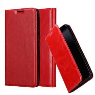Cadorabo Hülle für WIKO VIEW 2 GO in APFEL ROT Handyhülle mit Magnetverschluss, Standfunktion und Kartenfach Case Cover Schutzhülle Etui Tasche Book Klapp Style