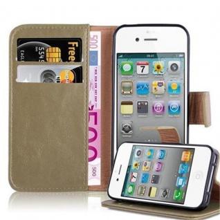 Cadorabo Hülle für Apple iPhone 4 / iPhone 4S in CAPPUCCINO BRAUN ? Handyhülle mit Magnetverschluss, Standfunktion und Kartenfach ? Case Cover Schutzhülle Etui Tasche Book Klapp Style