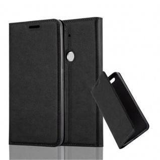 Cadorabo Hülle für Huawei NEXUS 6P in NACHT SCHWARZ - Handyhülle mit Magnetverschluss, Standfunktion und Kartenfach - Case Cover Schutzhülle Etui Tasche Book Klapp Style