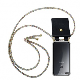 Cadorabo Handy Kette für HTC Desire 12 PLUS in RAINBOW - Silikon Necklace Umhänge Hülle mit Gold Ringen, Kordel Band Schnur und abnehmbarem Etui ? Schutzhülle