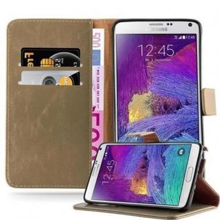 Cadorabo Hülle für Samsung Galaxy NOTE 4 in CAPPUCCINO BRAUN ? Handyhülle mit Magnetverschluss, Standfunktion und Kartenfach ? Case Cover Schutzhülle Etui Tasche Book Klapp Style