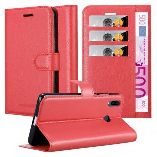 Cadorabo Hülle für Samsung Galaxy M20 in KARMIN ROT Handyhülle mit Magnetverschluss, Standfunktion und Kartenfach Case Cover Schutzhülle Etui Tasche Book Klapp Style
