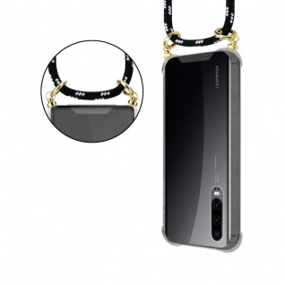 Cadorabo Handy Kette für Huawei P30 in SCHWARZ SILBER ? Silikon Necklace Umhänge Hülle mit Gold Ringen, Kordel Band Schnur und abnehmbarem Etui ? Schutzhülle - Vorschau 2