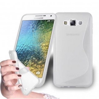 Cadorabo Hülle für Samsung Galaxy E5 2015 in HALB TRANSPARENT - Handyhülle aus flexiblem TPU Silikon - Silikonhülle Schutzhülle Ultra Slim Soft Back Cover Case Bumper