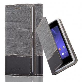 Cadorabo Hülle für Sony Xperia E3 in GRAU SCHWARZ - Handyhülle mit Magnetverschluss, Standfunktion und Kartenfach - Case Cover Schutzhülle Etui Tasche Book Klapp Style