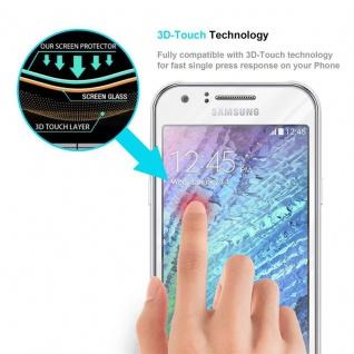 Cadorabo Vollbild Panzer Folie für Samsung Galaxy J1 2015 - Schutzfolie in TRANSPARENT mit WEISS - Gehärtetes (Tempered) Display-Schutzglas in 9H Härte mit 3D Touch Kompatibilität - Vorschau 5