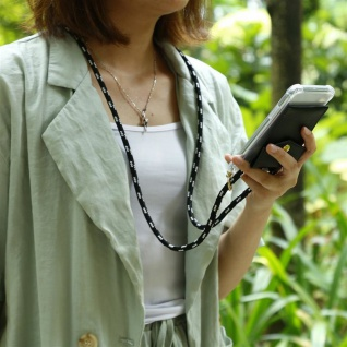 Cadorabo Handy Kette für Apple iPhone 6 PLUS / iPhone 6S PLUS in SCHWARZ SILBER Silikon Necklace Umhänge Hülle mit Gold Ringen, Kordel Band Schnur und abnehmbarem Etui Schutzhülle - Vorschau 4