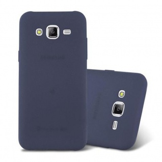 Cadorabo Hülle für Samsung Galaxy J5 2015 in FROST DUNKEL BLAU - Handyhülle aus flexiblem TPU Silikon - Silikonhülle Schutzhülle Ultra Slim Soft Back Cover Case Bumper
