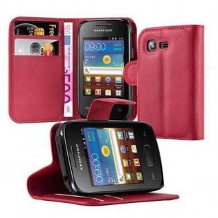 Cadorabo Hülle für Samsung Galaxy POCKET 2 in KARMIN ROT - Handyhülle mit Magnetverschluss, Standfunktion und Kartenfach - Case Cover Schutzhülle Etui Tasche Book Klapp Style