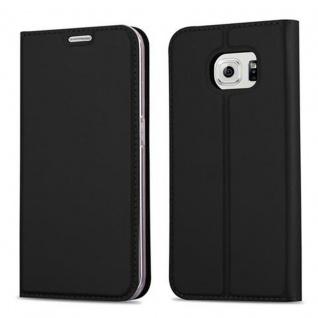 Cadorabo Hülle für Samsung Galaxy S6 EDGE in CLASSY SCHWARZ - Handyhülle mit Magnetverschluss, Standfunktion und Kartenfach - Case Cover Schutzhülle Etui Tasche Book Klapp Style