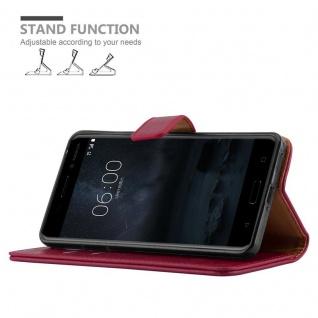 Cadorabo Hülle für Nokia 6 2017 in WEIN ROT ? Handyhülle mit Magnetverschluss, Standfunktion und Kartenfach ? Case Cover Schutzhülle Etui Tasche Book Klapp Style - Vorschau 5