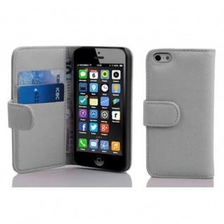 Cadorabo Hülle für Apple iPhone 5C in MAGNESIUM WEIß ? Handyhülle aus strukturiertem Kunstleder mit Standfunktion und Kartenfach ? Case Cover Schutzhülle Etui Tasche Book Klapp Style