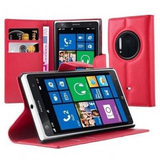 Cadorabo Hülle für Nokia Lumia 1020 in KARMIN ROT - Handyhülle mit Magnetverschluss, Standfunktion und Kartenfach - Case Cover Schutzhülle Etui Tasche Book Klapp Style