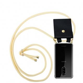 Cadorabo Handy Kette für Sony Xperia 1 in CREME BEIGE - Silikon Necklace Umhänge Hülle mit Gold Ringen, Kordel Band Schnur und abnehmbarem Etui ? Schutzhülle