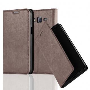 Cadorabo Hülle für Samsung Galaxy J7 2015 in KAFFEE BRAUN - Handyhülle mit Magnetverschluss, Standfunktion und Kartenfach - Case Cover Schutzhülle Etui Tasche Book Klapp Style