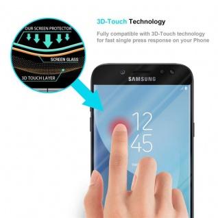 Cadorabo Vollbild Panzer Folie für Samsung Galaxy J7 PRO - Schutzfolie in TRANSPARENT mit SCHWARZ - Gehärtetes (Tempered) Display-Schutzglas in 9H Härte mit 3D Touch Kompatibilität - Vorschau 5