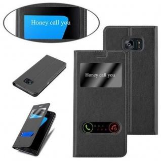 Cadorabo Hülle für Samsung Galaxy S7 EDGE in KOMETEN SCHWARZ - Handyhülle mit Magnetverschluss, Standfunktion und 2 Sichtfenstern - Case Cover Schutzhülle Etui Tasche Book Klapp Style - Vorschau 4