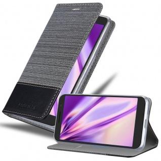 Cadorabo Hülle für Alcatel 1 2019 in GRAU SCHWARZ Handyhülle mit Magnetverschluss, Standfunktion und Kartenfach Case Cover Schutzhülle Etui Tasche Book Klapp Style