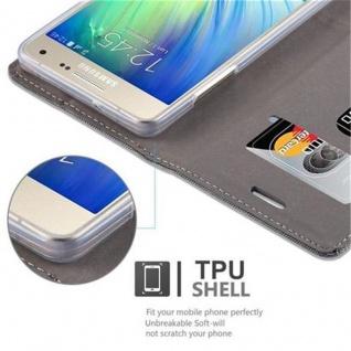Cadorabo Hülle für Samsung Galaxy A5 2015 in GRAU SCHWARZ - Handyhülle mit Magnetverschluss, Standfunktion und Kartenfach - Case Cover Schutzhülle Etui Tasche Book Klapp Style - Vorschau 4