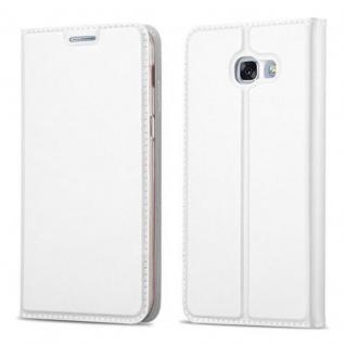 Cadorabo Hülle für Samsung Galaxy A3 2017 in CLASSY SILBER - Handyhülle mit Magnetverschluss, Standfunktion und Kartenfach - Case Cover Schutzhülle Etui Tasche Book Klapp Style