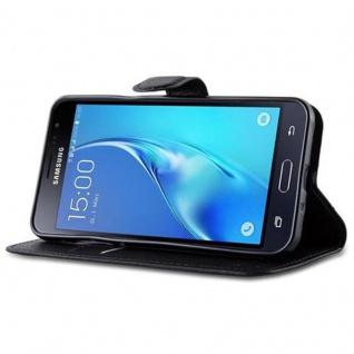 Cadorabo Hülle für Samsung Galaxy J3 2015 in PHANTOM SCHWARZ Handyhülle mit Magnetverschluss, Standfunktion und Kartenfach Case Cover Schutzhülle Etui Tasche Book Klapp Style - Vorschau 4
