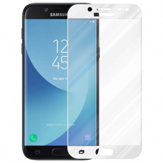 Cadorabo Vollbild Panzer Folie für Samsung Galaxy J7 PRO - Schutzfolie in TRANSPARENT mit WEISS - Gehärtetes (Tempered) Display-Schutzglas in 9H Härte mit 3D Touch Kompatibilität - Vorschau 2