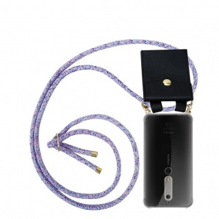 Cadorabo Handy Kette für Nokia 6.1 2018 in UNICORN Silikon Necklace Umhänge Hülle mit Gold Ringen, Kordel Band Schnur und abnehmbarem Etui Schutzhülle