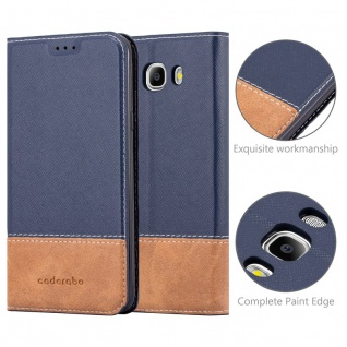 Cadorabo Hülle für Samsung Galaxy J7 2016 in BLAU BRAUN ? Handyhülle mit Magnetverschluss, Standfunktion und Kartenfach ? Case Cover Schutzhülle Etui Tasche Book Klapp Style - Vorschau 2