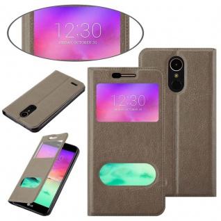 Cadorabo Hülle für LG K10 2017 in STEIN BRAUN - Handyhülle mit Magnetverschluss, Standfunktion und 2 Sichtfenstern - Case Cover Schutzhülle Etui Tasche Book Klapp Style - Vorschau 3