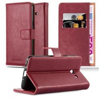 Cadorabo Hülle für Samsung Galaxy J3 2017 US Version in WEIN ROT - Handyhülle mit Magnetverschluss, Standfunktion und Kartenfach - Case Cover Schutzhülle Etui Tasche Book Klapp Style