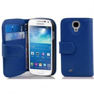 Cadorabo Hülle für Samsung Galaxy S4 MINI in KÖNIGS BLAU - Handyhülle aus strukturiertem Kunstleder mit Standfunktion und Kartenfach - Case Cover Schutzhülle Etui Tasche Book Klapp Style