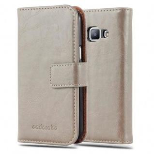 Cadorabo Hülle für Samsung Galaxy J1 2015 in CAPPUCINO BRAUN - Handyhülle mit Magnetverschluss, Standfunktion und Kartenfach - Case Cover Schutzhülle Etui Tasche Book Klapp Style