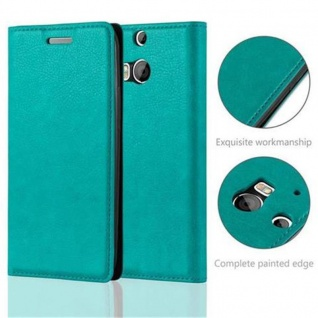 Cadorabo Hülle für HTC ONE M8 (2.Generation) in PETROL TÜRKIS - Handyhülle mit Magnetverschluss, Standfunktion und Kartenfach - Case Cover Schutzhülle Etui Tasche Book Klapp Style - Vorschau 2