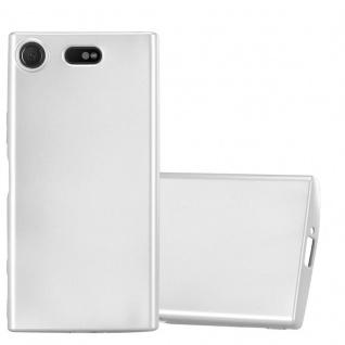 Cadorabo Hülle für Sony Xperia XZ1 Compact in METALLIC SILBER - Handyhülle aus flexiblem TPU Silikon - Silikonhülle Schutzhülle Ultra Slim Soft Back Cover Case Bumper