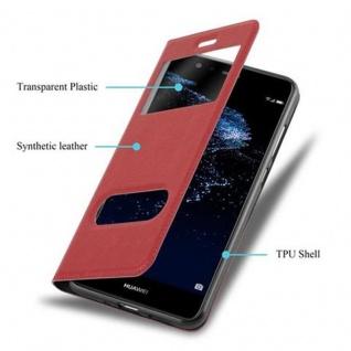 Cadorabo Hülle für Huawei P10 LITE in SAFRAN ROT - Handyhülle mit Magnetverschluss, Standfunktion und 2 Sichtfenstern - Case Cover Schutzhülle Etui Tasche Book Klapp Style - Vorschau 3