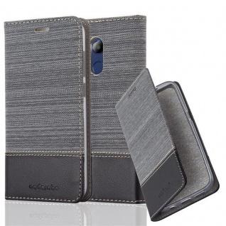 Cadorabo Hülle für Honor 6C PRO in GRAU SCHWARZ - Handyhülle mit Magnetverschluss, Standfunktion und Kartenfach - Case Cover Schutzhülle Etui Tasche Book Klapp Style
