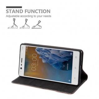 Cadorabo Hülle für Nokia 3 2017 in GOLD SCHWARZ ? Handyhülle mit Magnetverschluss, Standfunktion und Kartenfach ? Case Cover Schutzhülle Etui Tasche Book Klapp Style - Vorschau 3