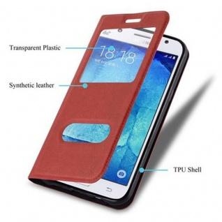 Cadorabo Hülle für Samsung Galaxy J5 2015 in SAFRAN ROT - Handyhülle mit Magnetverschluss, Standfunktion und 2 Sichtfenstern - Case Cover Schutzhülle Etui Tasche Book Klapp Style - Vorschau 3