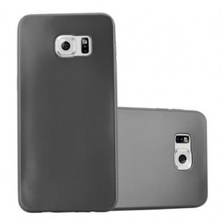 Cadorabo Hülle für Samsung Galaxy S6 EDGE PLUS - Hülle in METALLIC GRAU ? Handyhülle aus TPU Silikon im Matt Metallic Design - Ultra Slim Soft Backcover Case Bumper
