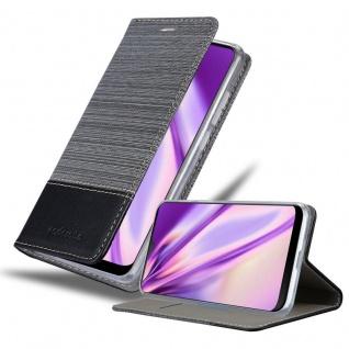 Cadorabo Hülle für HTC Desire 19+ in GRAU SCHWARZ Handyhülle mit Magnetverschluss, Standfunktion und Kartenfach Case Cover Schutzhülle Etui Tasche Book Klapp Style