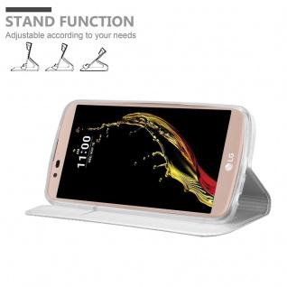 Cadorabo Hülle für LG K10 2016 in CLASSY SILBER - Handyhülle mit Magnetverschluss, Standfunktion und Kartenfach - Case Cover Schutzhülle Etui Tasche Book Klapp Style - Vorschau 2