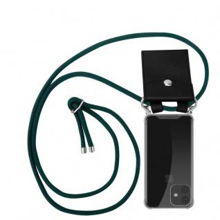 Cadorabo Handy Kette für Apple iPhone 11 (XI) in ARMEE GRÜN - Silikon Necklace Umhänge Hülle mit Silber Ringen, Kordel Band Schnur und abnehmbarem Etui - Schutzhülle