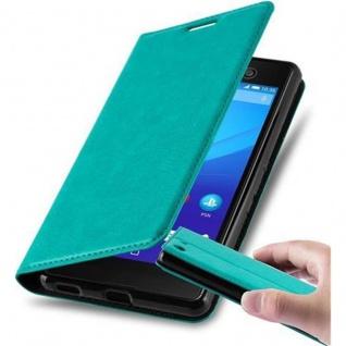 Cadorabo Hülle für Sony Xperia M5 in PETROL TÜRKIS - Handyhülle mit Magnetverschluss, Standfunktion und Kartenfach - Case Cover Schutzhülle Etui Tasche Book Klapp Style