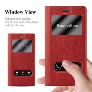 Cadorabo Hülle für Huawei P7 in SAFRAN ROT - Handyhülle mit Magnetverschluss, Standfunktion und 2 Sichtfenstern - Case Cover Schutzhülle Etui Tasche Book Klapp Style - Vorschau 2